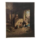 "Image of 19th Century ""Playing With Kittens"" Original Oil Painting For Sale"
