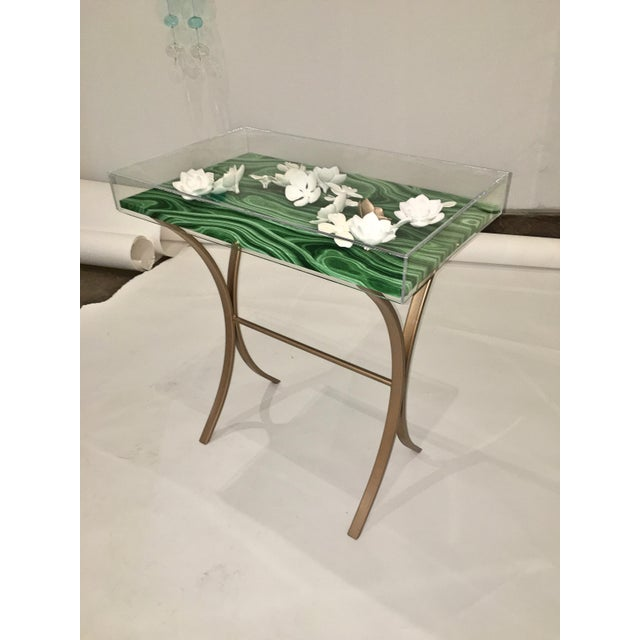 Lucite Object d'art with Rose Tone Metal Side Table by AMK for Patricia Kagan - Image 2 of 11