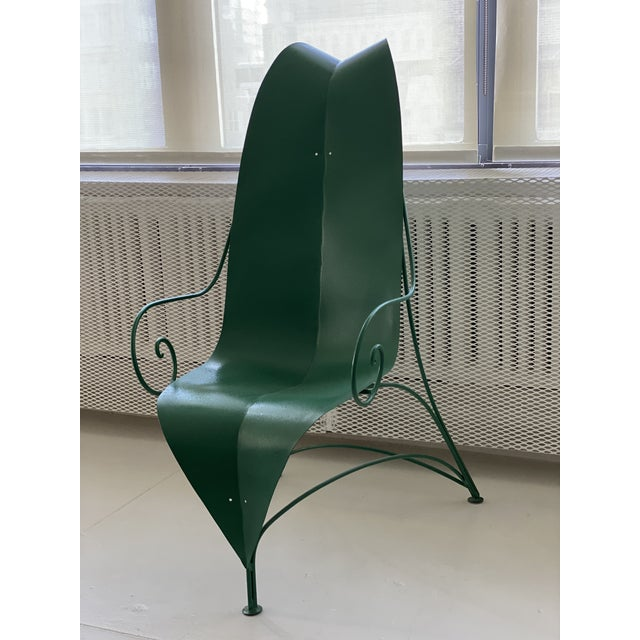 "Contemporary Poltronova Mirabili ""Foglia"" Metal Chair - Sottsass, Memphis, Mendini For Sale - Image 3 of 7"