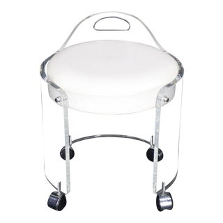 Mid-Century Modern Round Bent Lucite Upholstered Bench Stool For Sale
