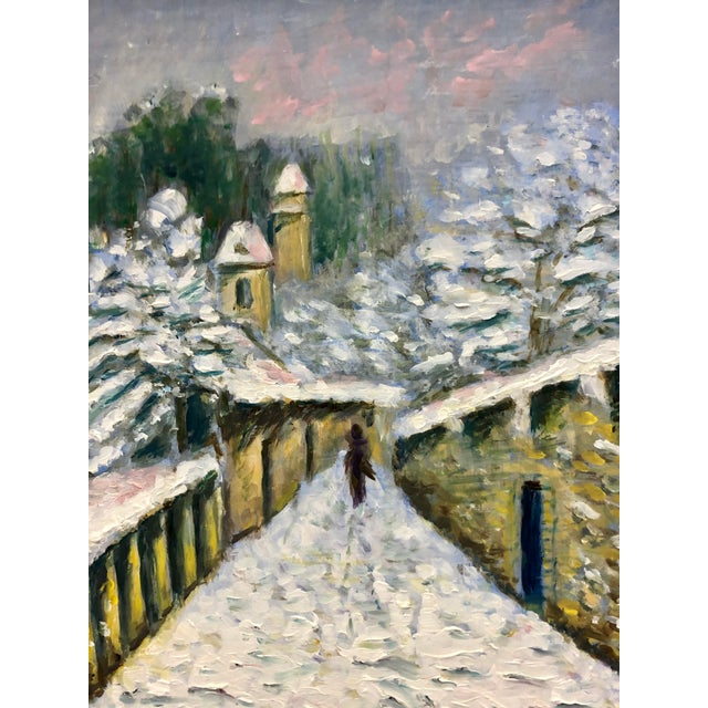 1960s Small Winter Scene Oil Painting by Genevieve Roberto, Framed For Sale - Image 4 of 5