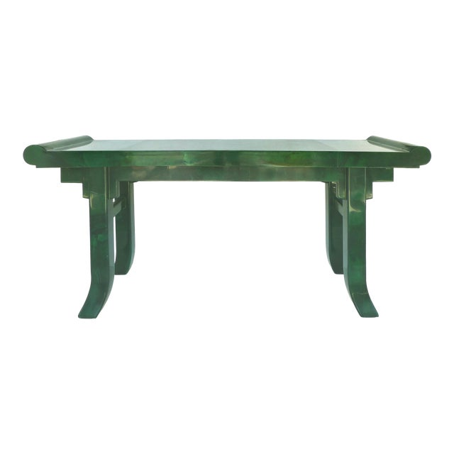 Over-Scale Green Goatskin Stylized Altar Table Style Console Table For Sale