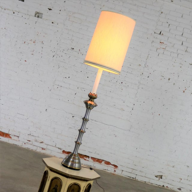 Mid 20th Century Stiffel Tall Table Lamp or Low Floor Lamp Mid Century Brass and Brushed Stainless Steel For Sale - Image 5 of 13