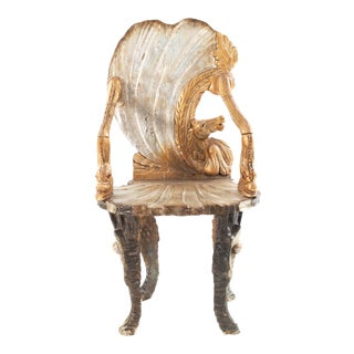 Italian Venetian Grotto Shell Form Arm Chairs For Sale