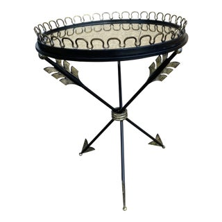 Metal Tripod Mirrored End Table With Arrows For Sale