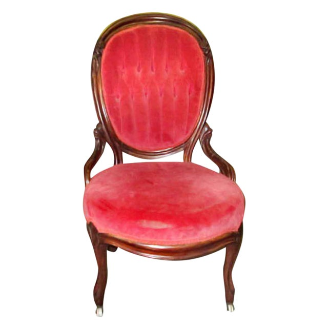 French Tufted Back Parlor Chair For Sale