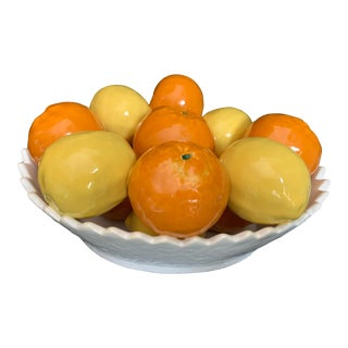 Vintage Italian Majolica Pottery Sculpture Lemons and Oranges in a White Basket For Sale