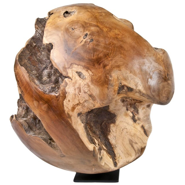 Indonesian Teak Wood Root Ball On Stand - Image 2 of 4