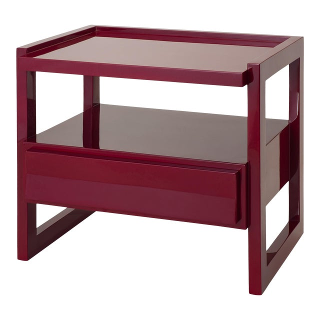 Hudson Nightstand in Bordeaux Red - Rita Konig for The Lacquer Company For Sale
