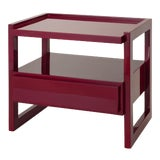 Image of Rita Konig Collection Hudson Nightstand in Bordeaux Red For Sale