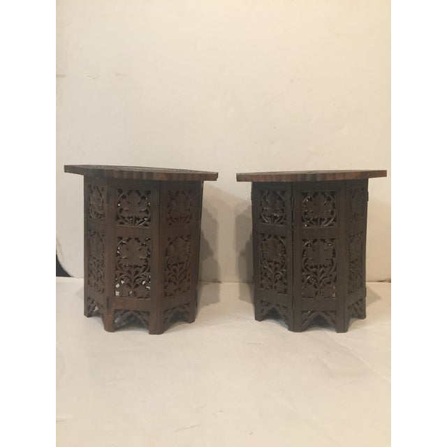 1950s Mediterranean Hand Carved Rosewood Inlaid Side Tables - a Pair For Sale - Image 13 of 13