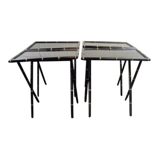 1970s Hollywood Regency Folding Wood Tv Dinner Trays - Set of 4 For Sale