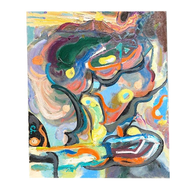 Large Scale Bold Colorful Mid-Century Abstract Painting Oil on Canvas - Russia For Sale