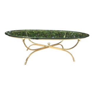 1970s Italian Brass and Glass Rams Head and Hoof Coffee Table For Sale