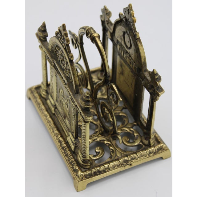 Renaissance Revival Double Brass Letter Rack With Carrying Handle For Sale - Image 12 of 12