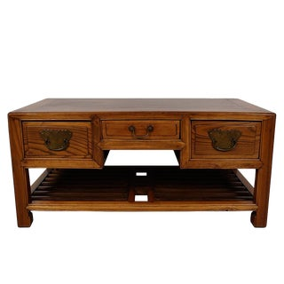 Late 19th Century Antique Chinese Carved Beech Wood Coffee Table For Sale