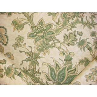 8y Brunschwig Et Fils Rama Linen & Cotton Print Green Drapery Upholstery Fabric For Sale