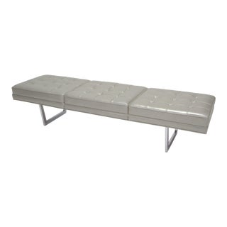 Mid Century Chrome and Metallic Leather Upholstered Bench For Sale