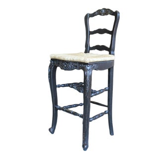 Counter Stool French Country Farmhouse Blackwash For Sale