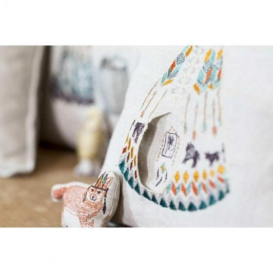 Children's Contemporary Linen Plains Fox Pocket Pillow For Sale - Image 3 of 7