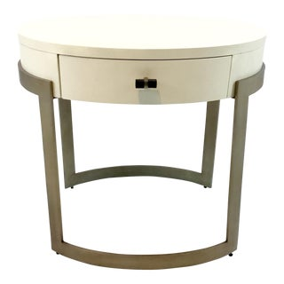 Caracole Ivory and Antique Brass Side Table/Nightstand For Sale