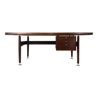 Midcentury Lehigh Furniture Floating Executive Walnut Desk with Leather Top & Steel Detail Attributed. Ward Bennett For Sale
