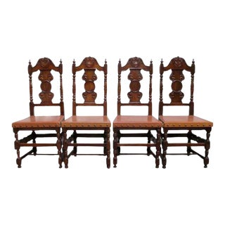 Antique Spanish Carved Dining Chairs - Set of 4