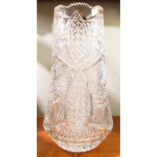 American Cut Style Moulded Tall Glass Vase Preview