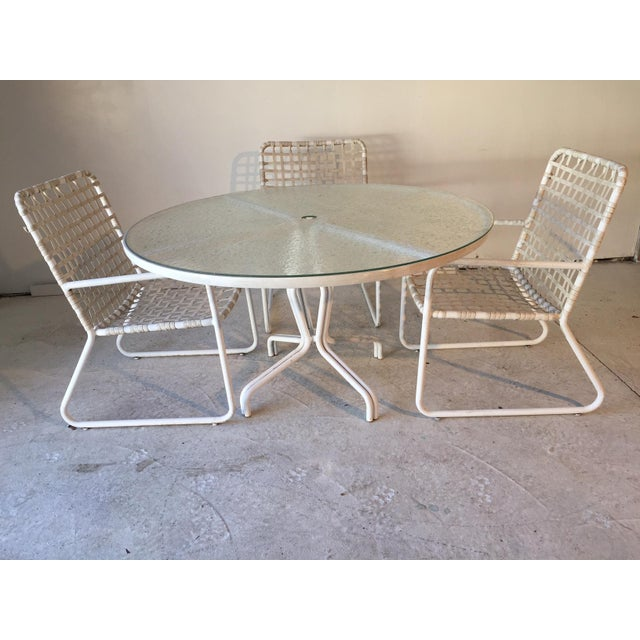 Brown Jordan Lido Plexi-Glass Top Table & Chairs, Umbrella Capable - Dining  Set