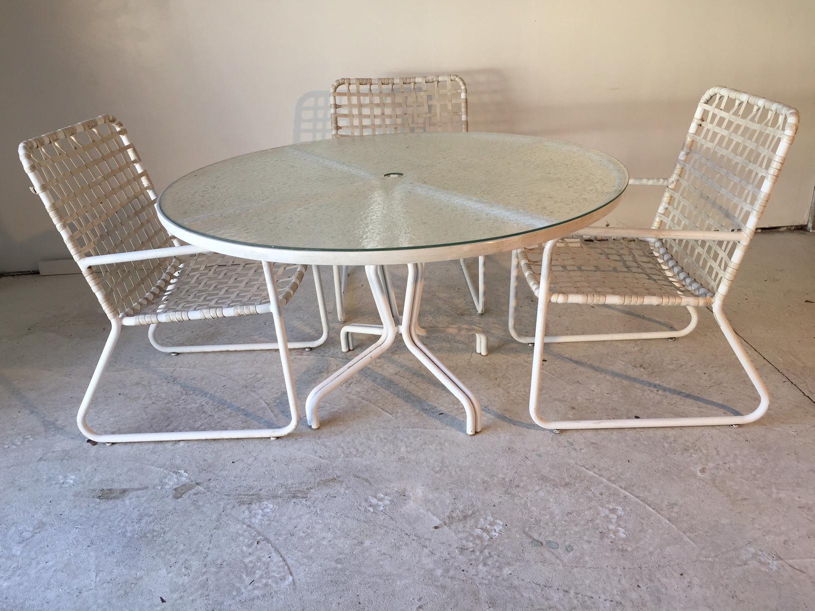 Brown Jordan Lido Plexiglass Top Table U Chairs Umbrella Capable