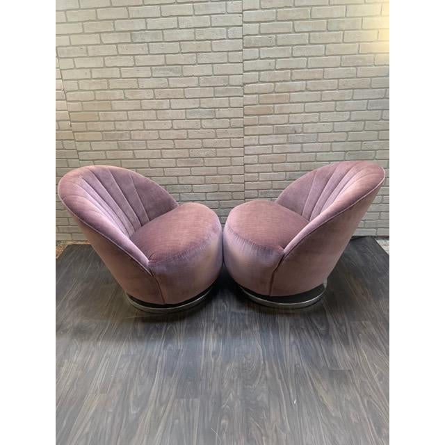 Mid Century Modern Milo Baughman Channel Back Swivel Chairs Newly Upholstered - Pair For Sale In Chicago - Image 6 of 12
