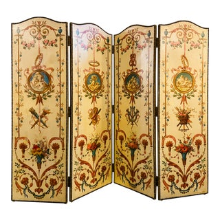 19th Century French Hand Painted Four-Panel Room Divider/Screen For Sale
