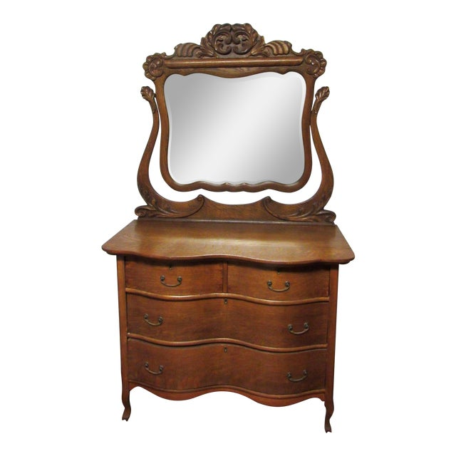 Early 20th Century Antique Tiger Oak Dresser & Mirror For Sale