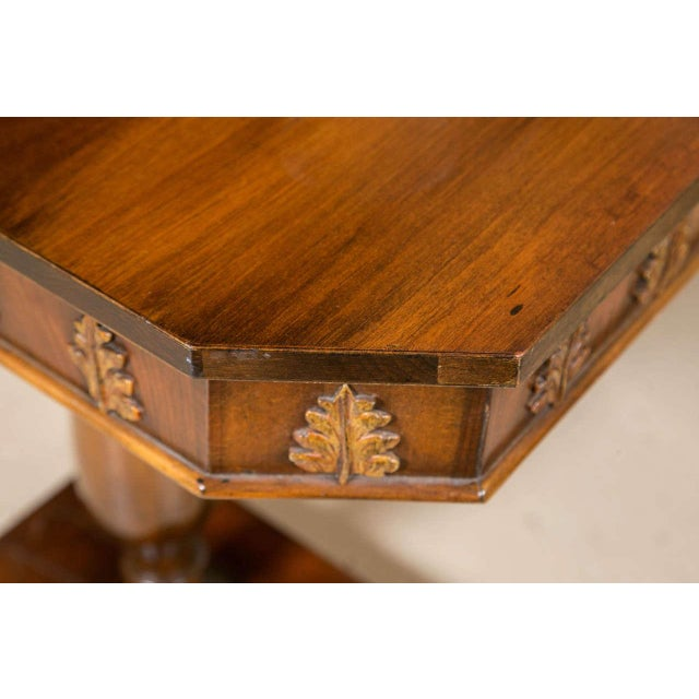 Pair of Neoclassical Style Detailed Carving Walnut Pedestal Console / End Tables For Sale - Image 4 of 9
