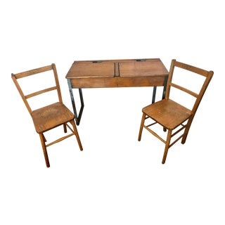 Antique Rustic Double Children's School Desk With 2 Children's Chairs - 3 Pieces For Sale