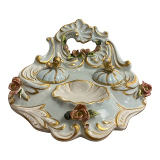 Antique Early 20th Century Limoges Porcelain Inkwell For Sale