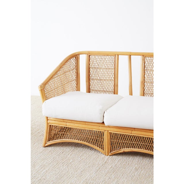 Mid 20th Century Midcentury Bamboo Rattan Wicker Settee or Loveseat For Sale - Image 5 of 13