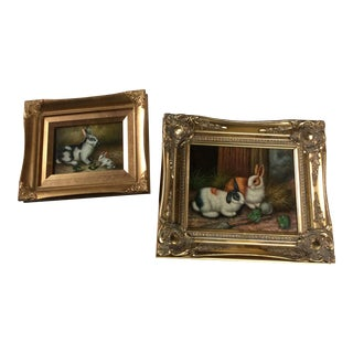 Vintage Rabbit Oil on Canvas Textured Paintings - a Pair For Sale