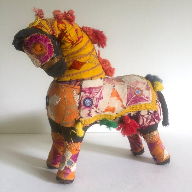 Boho Chic Vintage Indian Patchwork Horse Figurine For Sale - Image 3 of 11