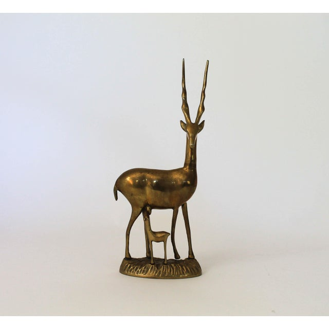 Boho Chic Brass Antelope and Baby Fawn Figurine For Sale - Image 3 of 6