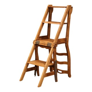 Early 20th Century French Carved Walnut Folding Ladder Chair From Provence For Sale