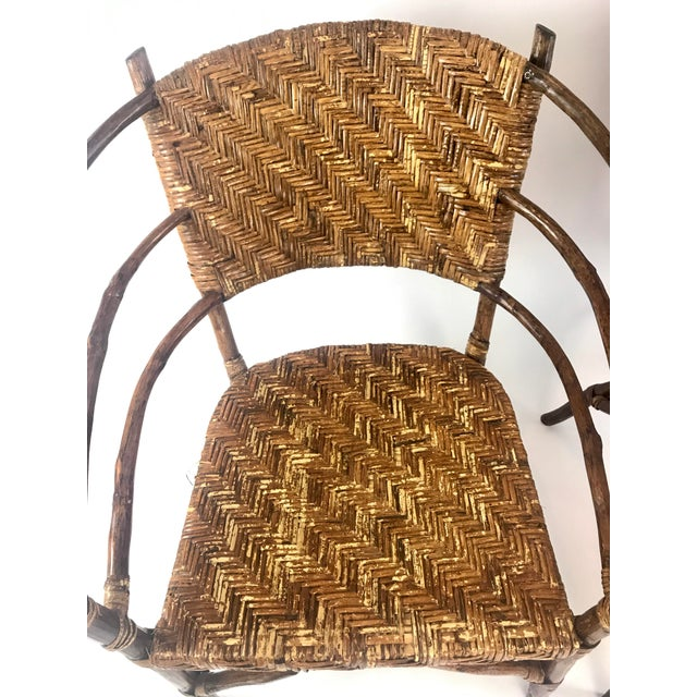 Wood Vintage Barrel Backed Hickory Hoop Arm Chairs - A Pair For Sale - Image 7 of 11