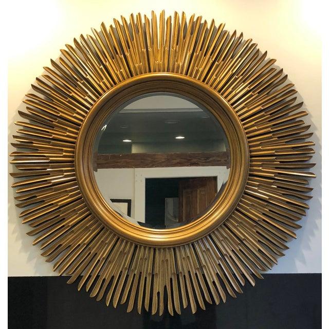Art Deco Contemporary Gilded Wood Sunburst Mirror For Sale - Image 3 of 3
