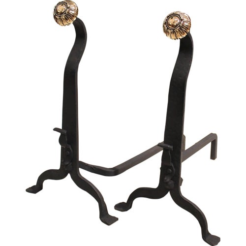 19th Century Wrought Iron and Bronze Art and Crafts Andirons - A Pair - Image 8 of 8