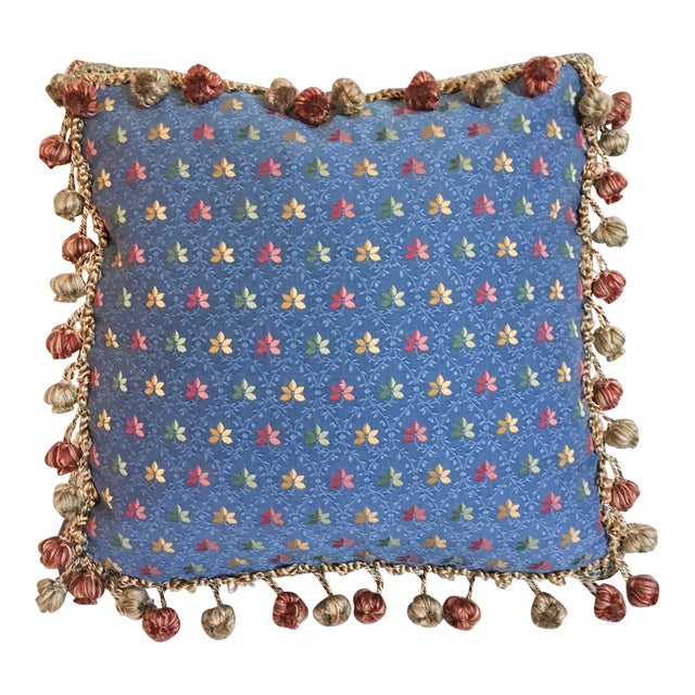 Embroidered Needlepoint Box Pillow with Fringe - Image 1 of 6