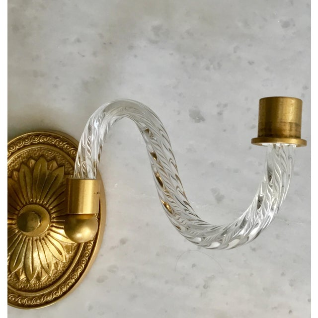 English A Pair of Hollywood Regency Fluted Glass Arm Sconces For Sale - Image 3 of 8