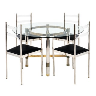 French Modernist Chrome Dining Set For Sale
