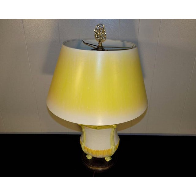 Art Nouveau Vintage Frederick Cooper Hand Painted Pottery Table Lamp & Yellow Shade For Sale - Image 3 of 11