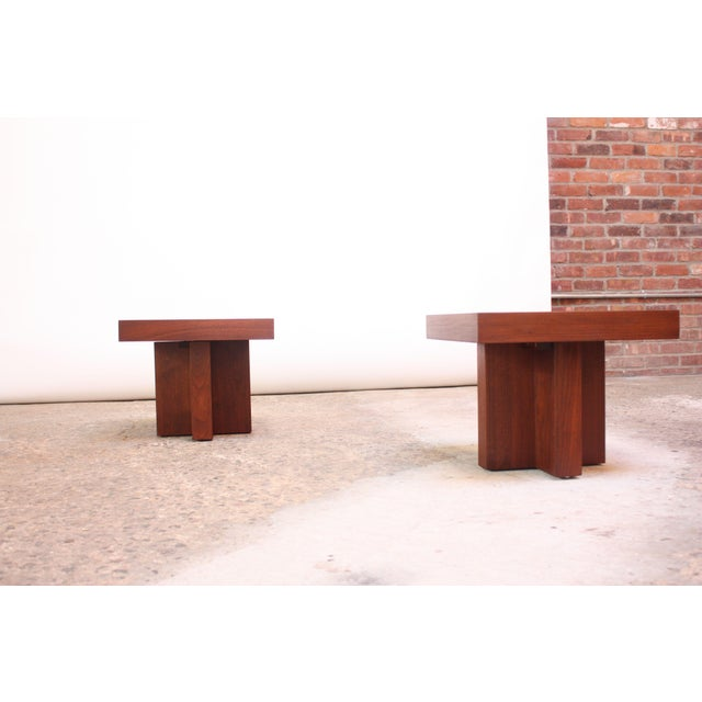 1970s Pair of Milo Baughman 'Cruciform' End Tables For Sale - Image 5 of 13