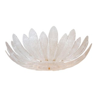 Textured Glass Foliate Form Chandelier For Sale